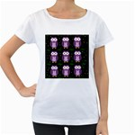 Halloween purple owls pattern Women s Loose-Fit T-Shirt (White) Front