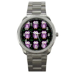 Halloween purple owls pattern Sport Metal Watch