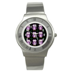 Halloween purple owls pattern Stainless Steel Watch