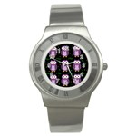 Halloween purple owls pattern Stainless Steel Watch Front