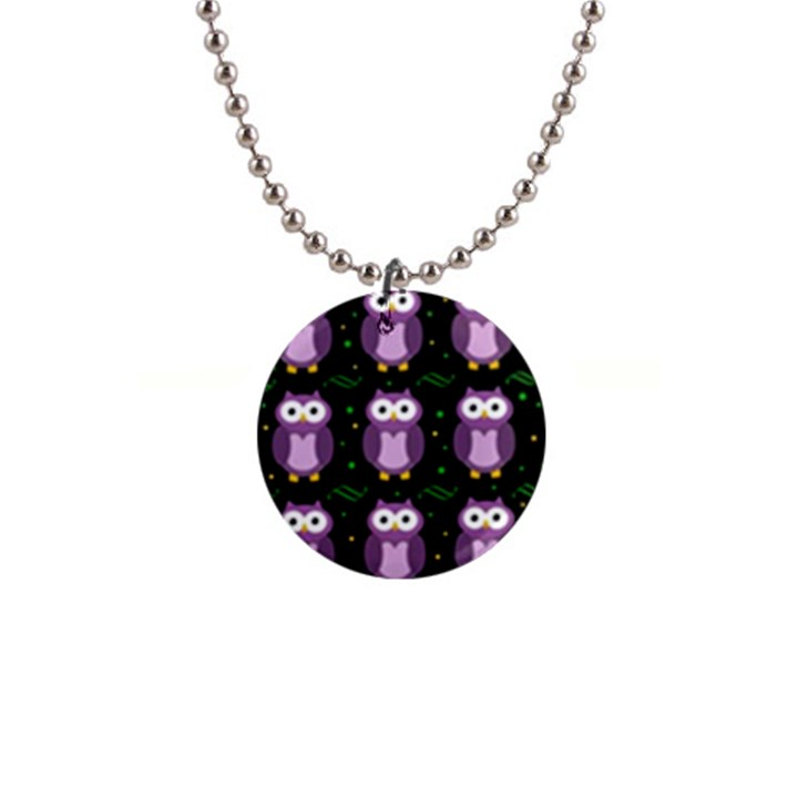 Halloween purple owls pattern Button Necklaces