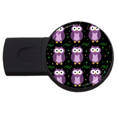 Halloween Purple Owls Pattern Usb Flash Drive Round (4 Gb)