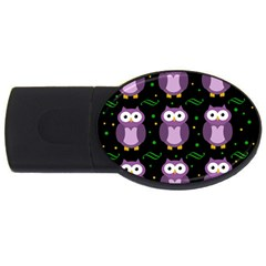 Halloween Purple Owls Pattern Usb Flash Drive Oval (4 Gb)