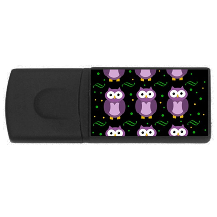 Halloween purple owls pattern USB Flash Drive Rectangular (4 GB)