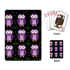 Halloween Purple Owls Pattern Playing Card