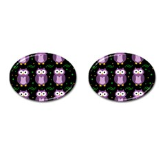 Halloween purple owls pattern Cufflinks (Oval)