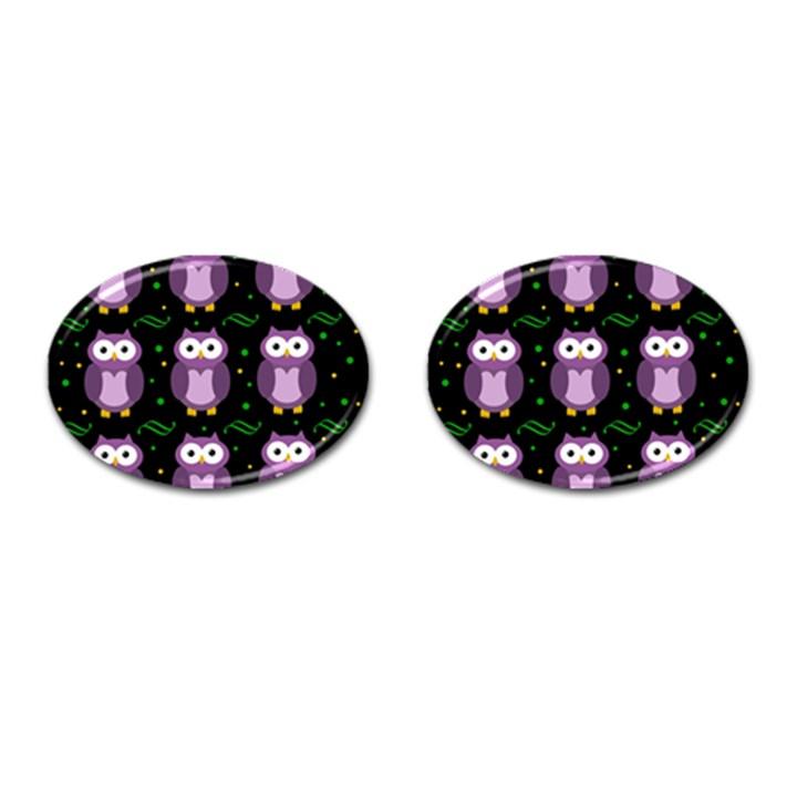 Halloween purple owls pattern Cufflinks (Oval)