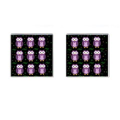 Halloween Purple Owls Pattern Cufflinks (square)
