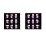 Halloween purple owls pattern Cufflinks (Square) Front