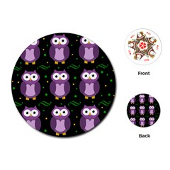 Halloween purple owls pattern Playing Cards (Round)