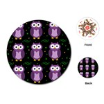 Halloween purple owls pattern Playing Cards (Round)  Front
