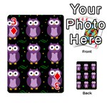 Halloween purple owls pattern Playing Cards 54 Designs  Front - Diamond3