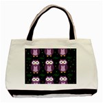 Halloween purple owls pattern Basic Tote Bag Front