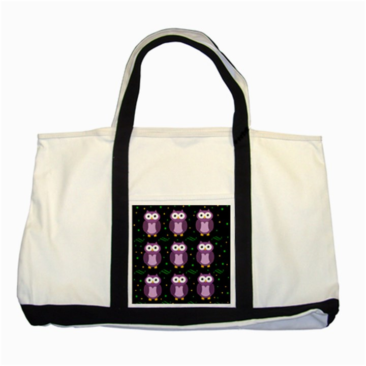 Halloween purple owls pattern Two Tone Tote Bag