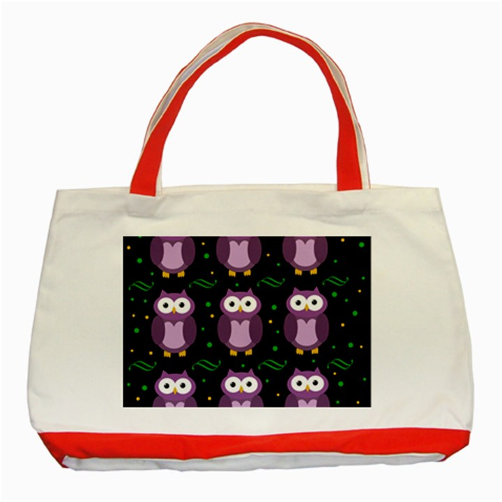 Halloween purple owls pattern Classic Tote Bag (Red)