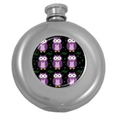 Halloween purple owls pattern Round Hip Flask (5 oz)