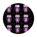 Halloween purple owls pattern Round Ornament (Two Sides)  Front