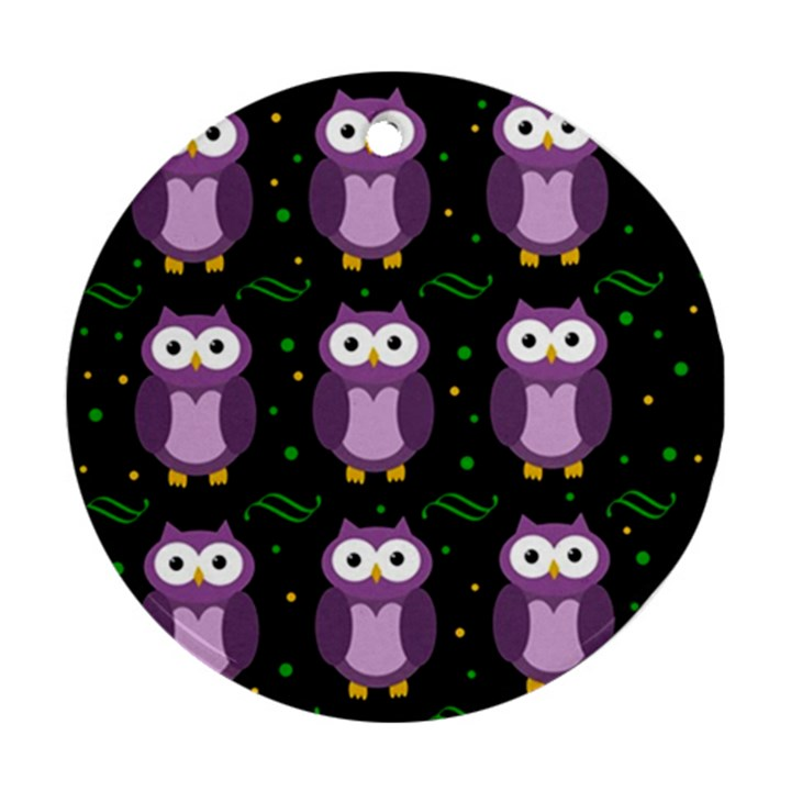 Halloween purple owls pattern Round Ornament (Two Sides)