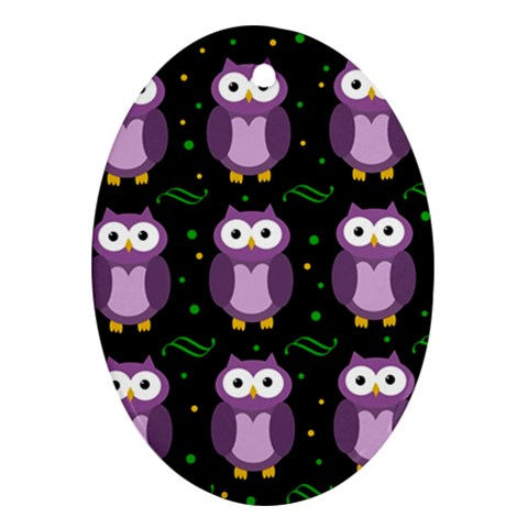 Halloween purple owls pattern Oval Ornament (Two Sides)