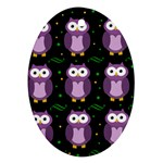 Halloween purple owls pattern Oval Ornament (Two Sides) Front