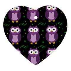 Halloween purple owls pattern Heart Ornament (2 Sides)