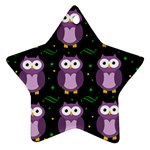 Halloween purple owls pattern Star Ornament (Two Sides)  Back