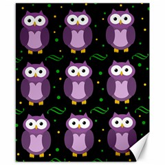 Halloween Purple Owls Pattern Canvas 8  X 10