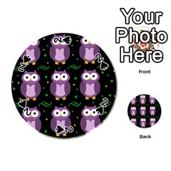 Halloween Purple Owls Pattern Playing Cards 54 (round)