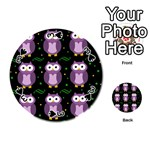 Halloween purple owls pattern Playing Cards 54 (Round)  Front - Spade3