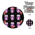 Halloween purple owls pattern Playing Cards 54 (Round)  Front - Heart3