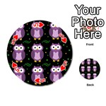 Halloween purple owls pattern Playing Cards 54 (Round)  Front - Heart5
