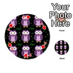 Halloween purple owls pattern Playing Cards 54 (Round)  Front - Heart7