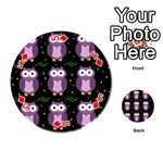 Halloween purple owls pattern Playing Cards 54 (Round)  Front - Diamond5