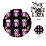Halloween purple owls pattern Playing Cards 54 (Round)  Front - Diamond6