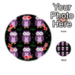 Halloween purple owls pattern Playing Cards 54 (Round)  Front - Diamond8