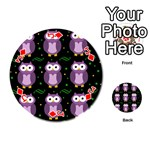 Halloween purple owls pattern Playing Cards 54 (Round)  Front - DiamondJ