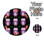 Halloween purple owls pattern Playing Cards 54 (Round)  Front - DiamondA