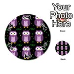 Halloween purple owls pattern Playing Cards 54 (Round)  Front - Club8