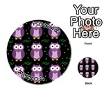 Halloween purple owls pattern Playing Cards 54 (Round)  Front - Joker1