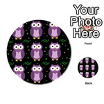 Halloween purple owls pattern Playing Cards 54 (Round)  Back