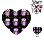 Halloween purple owls pattern Playing Cards 54 (Heart)  Front - Heart5