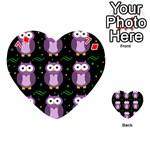 Halloween purple owls pattern Playing Cards 54 (Heart)  Front - Diamond7