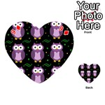 Halloween purple owls pattern Playing Cards 54 (Heart)  Front - Diamond9