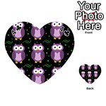 Halloween purple owls pattern Playing Cards 54 (Heart)  Front - Club4