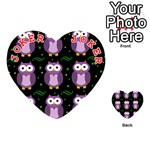 Halloween purple owls pattern Playing Cards 54 (Heart)  Front - Joker2