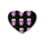 Halloween purple owls pattern Rubber Coaster (Heart)  Front