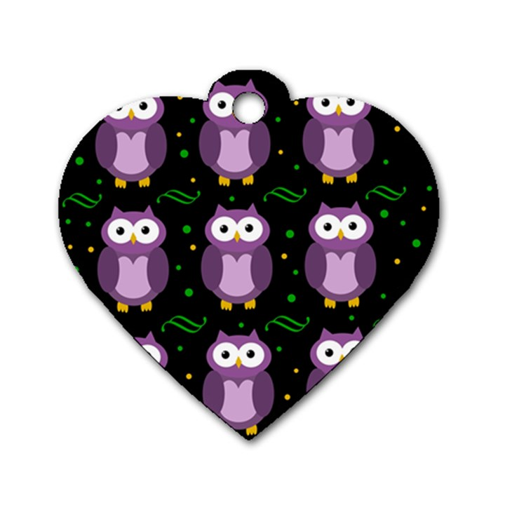 Halloween purple owls pattern Dog Tag Heart (One Side)