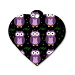 Halloween purple owls pattern Dog Tag Heart (Two Sides) Front