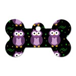 Halloween purple owls pattern Dog Tag Bone (One Side) Front