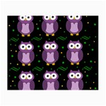 Halloween purple owls pattern Small Glasses Cloth (2-Side) Front